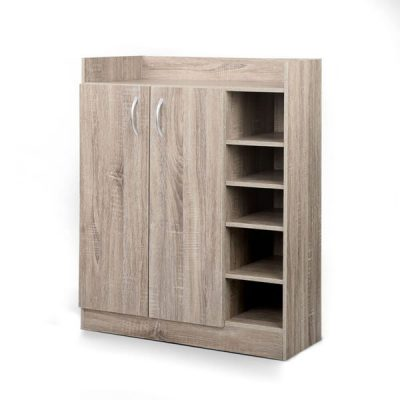 Artiss 2 Doors Shoe Cabinet Storage Cupboard - Wood