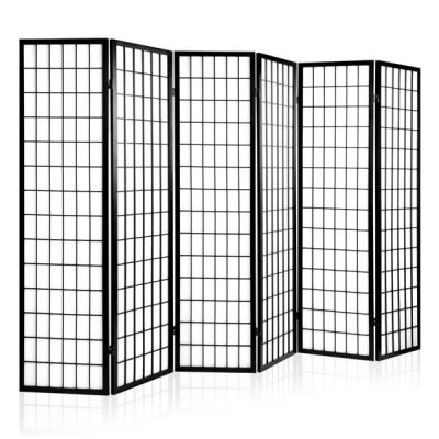 Artiss 6 Panel Wooden Room Divider - Black