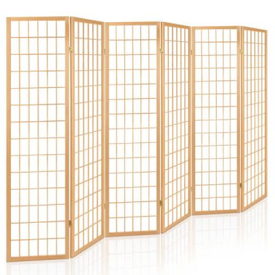 Artiss 6 Panel Wooden Room Divider - Natural