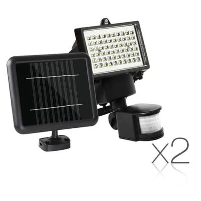 Set of 2 60 LED Solar Powered Senor Light