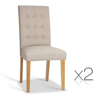 Artiss Set of 2 Fabric Dining Chair - Beige