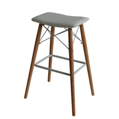 Set of 2 Barstools Saddle white bar stools with Natural solid oak legs